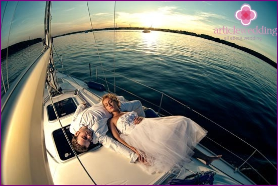 Wedding night on a boat