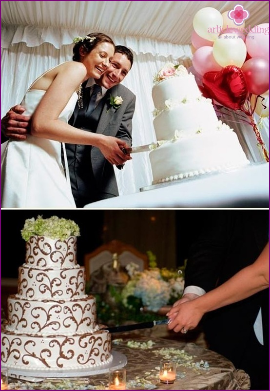 Newlyweds cut a cake together