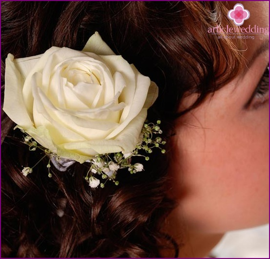 Roses in a wedding hairstyle