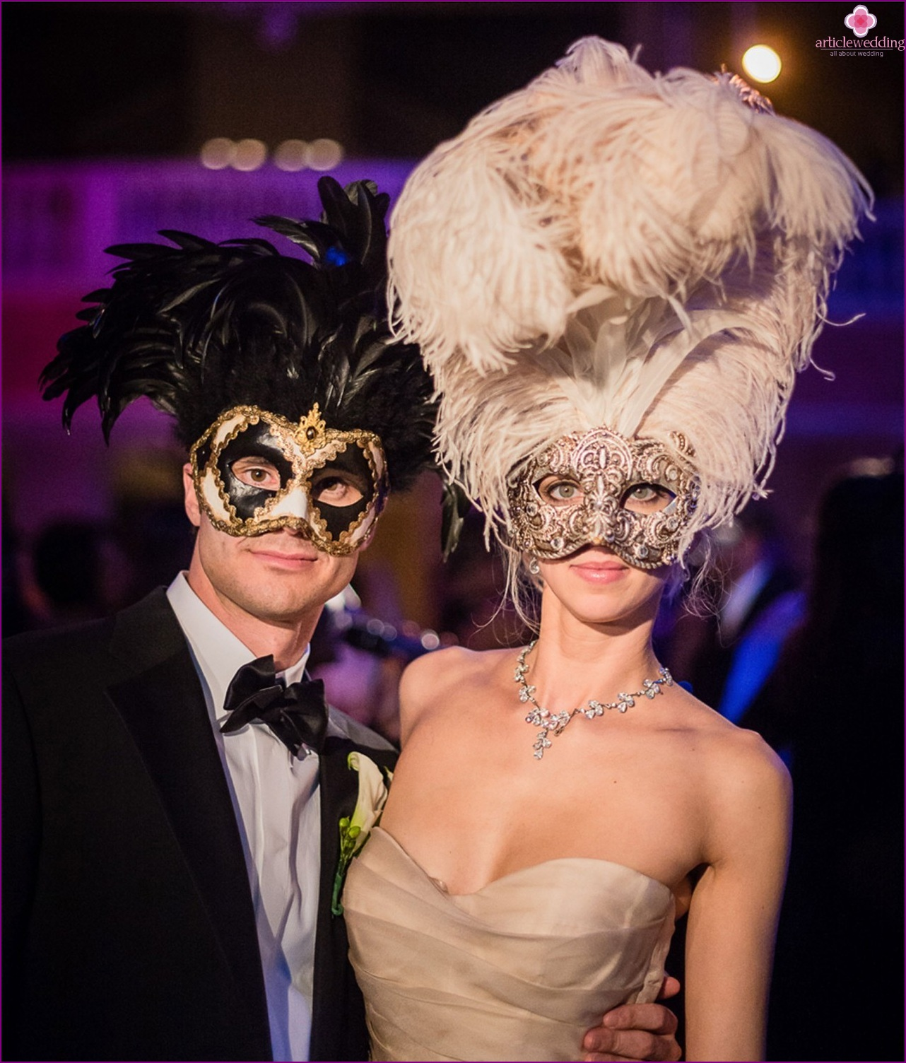 Costumes for the wedding in the style of masquerade