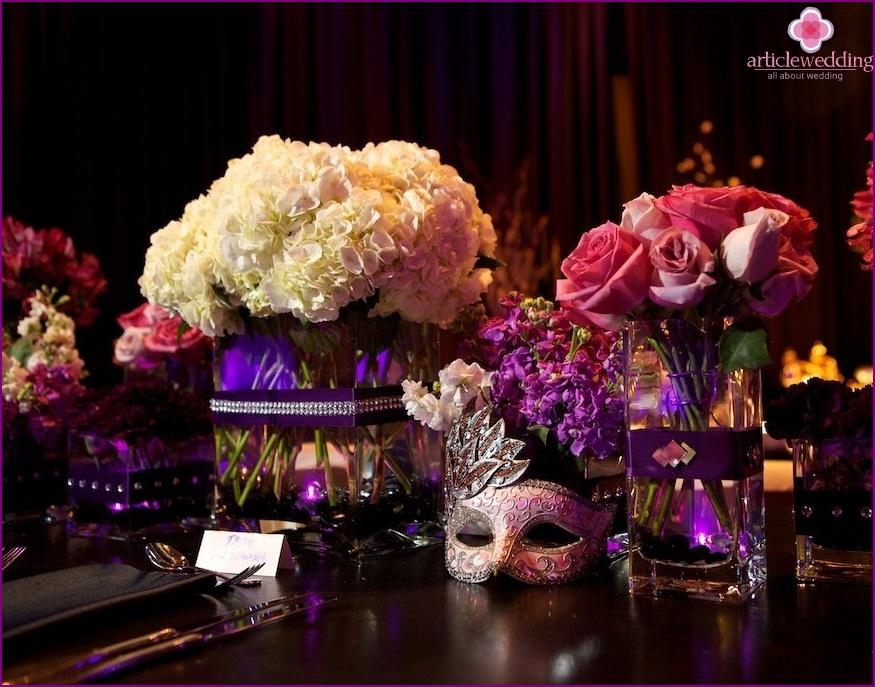 Masquerade style wedding accessories