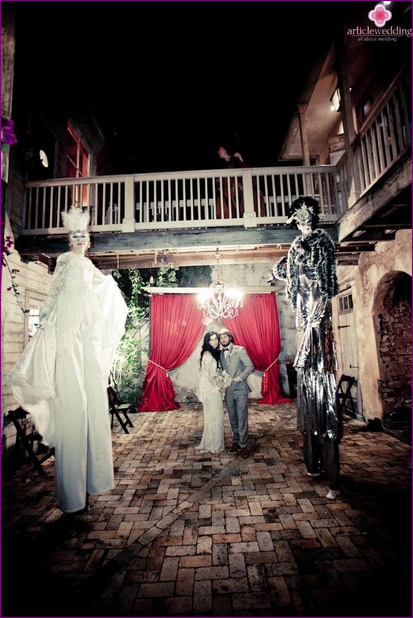 Entertainment of guests at a masquerade wedding