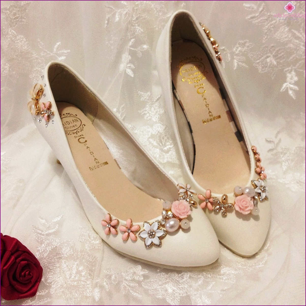 Floral decor for wedding shoes