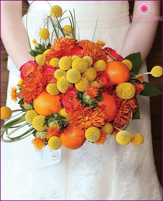 Bridal bouquet for tangerine wedding