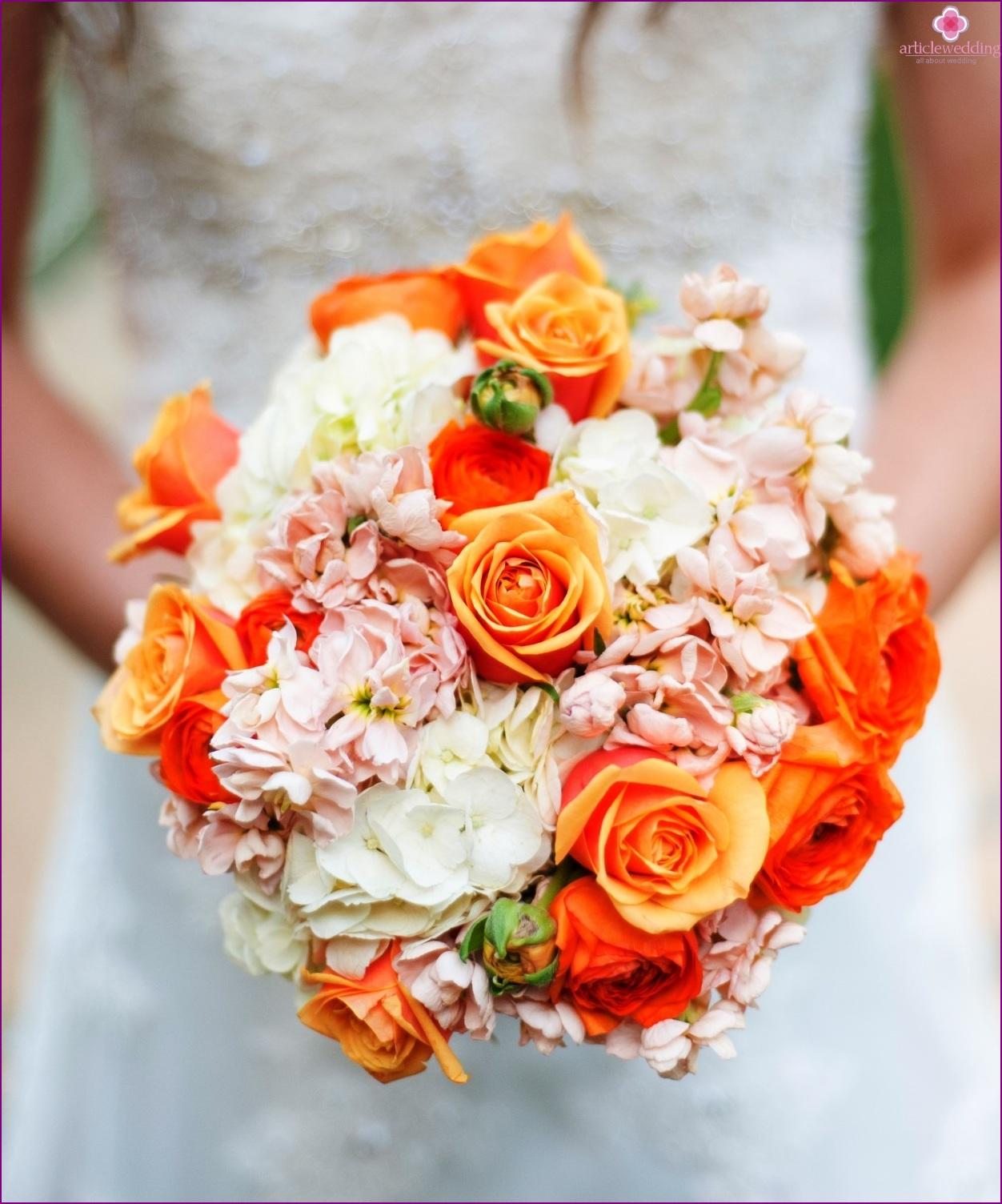 Orange flowers for tangerine wedding