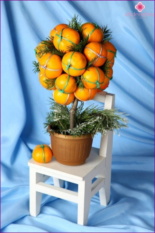 Fabric tangerine for wedding decoration