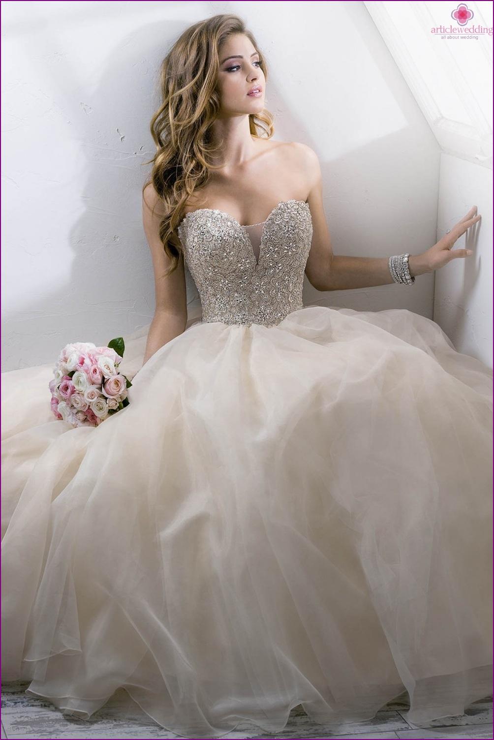 Wedding dress with rhinestones and crystals