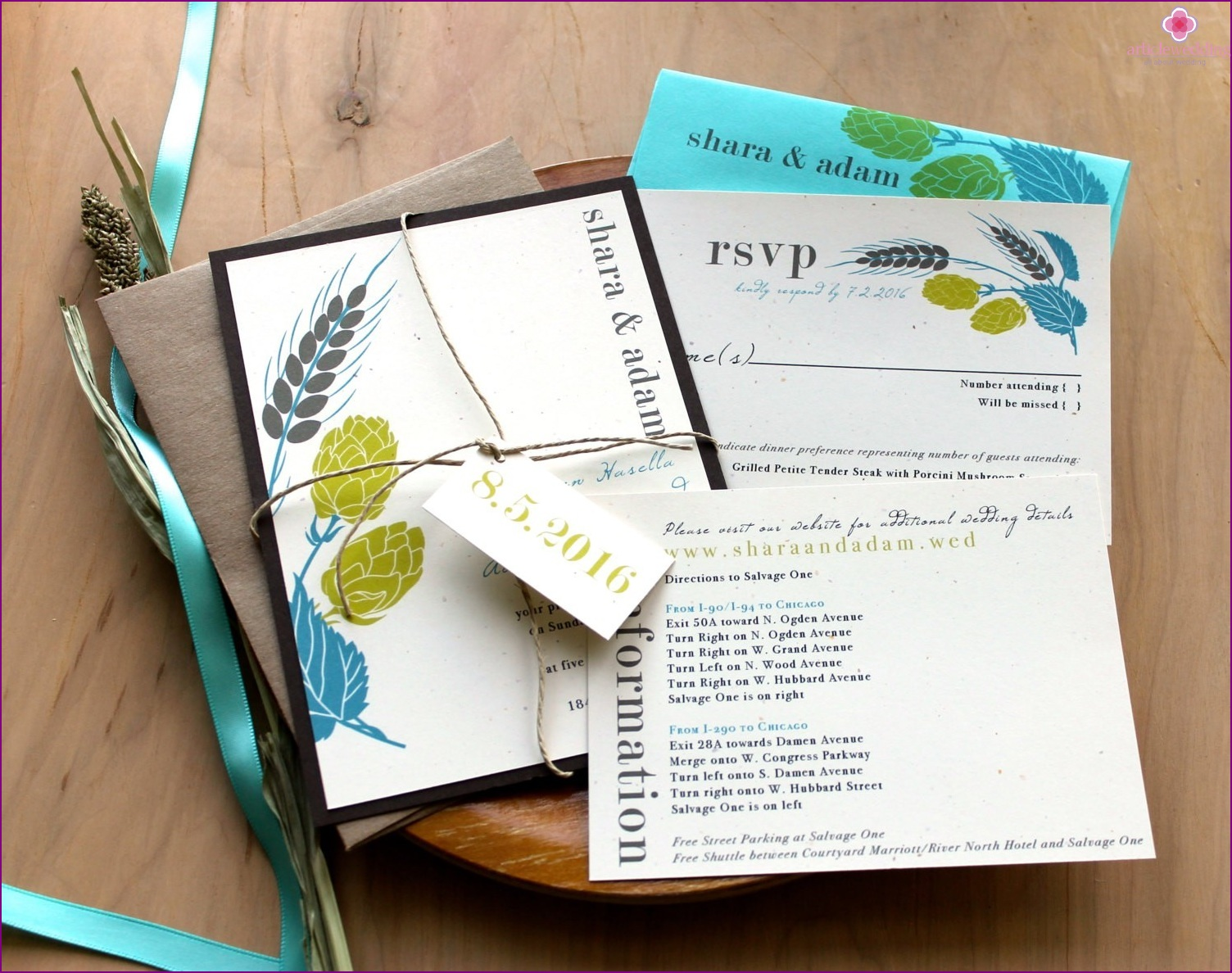 Wedding invitations with natural motifs.