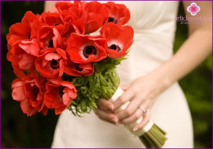 Bride with a bouquet of poppies