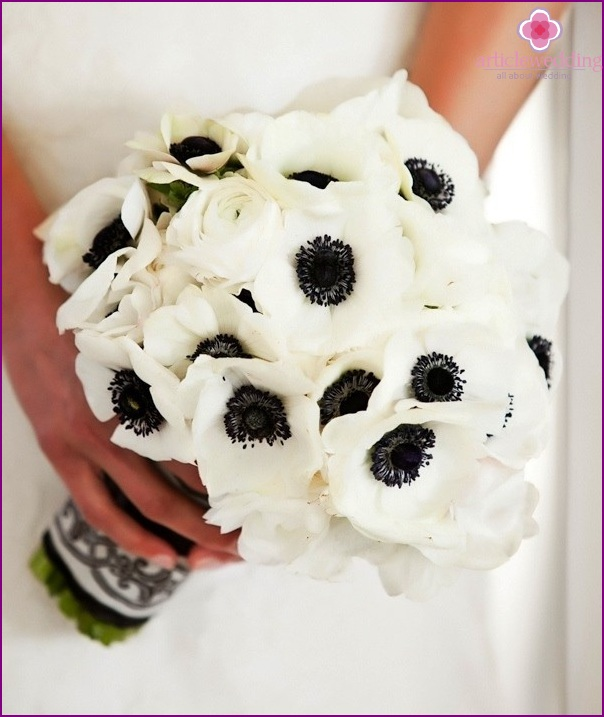 Bridal bouquet for the wedding in the style of Coco Chanel