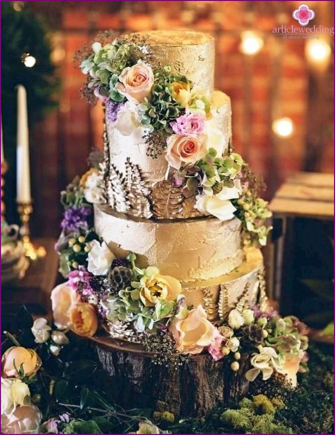 Forest Style Wedding Cake