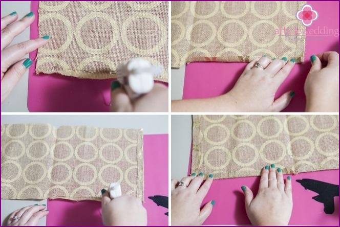 Fold the fabric and glue it