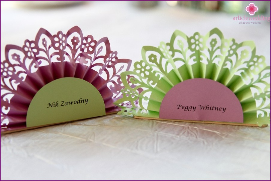 Banquet cards made of paper fans