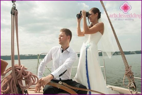Sea image of the newlyweds