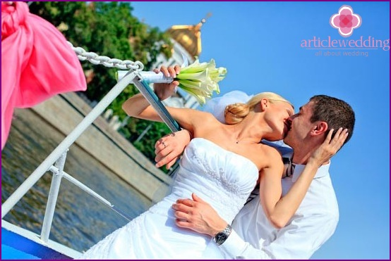 Newlyweds over the river surface