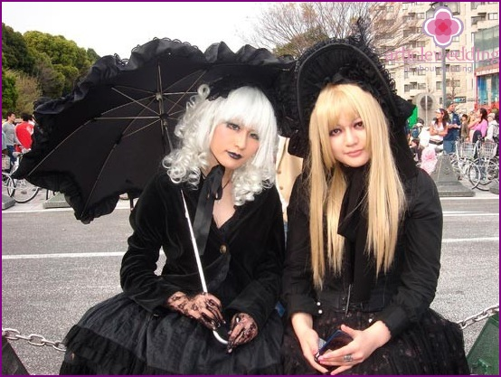 Guests at a gothic wedding