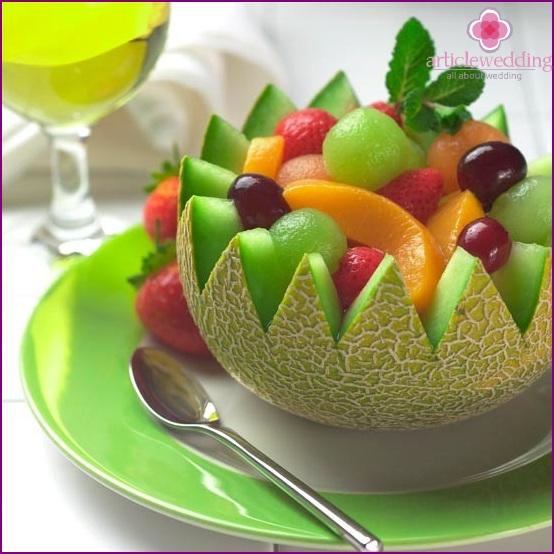 Tischdekoration für Obsthochzeiten
