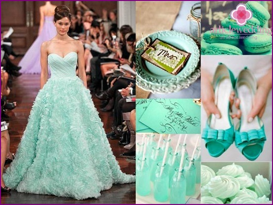 Mint dress and accessories for the bride