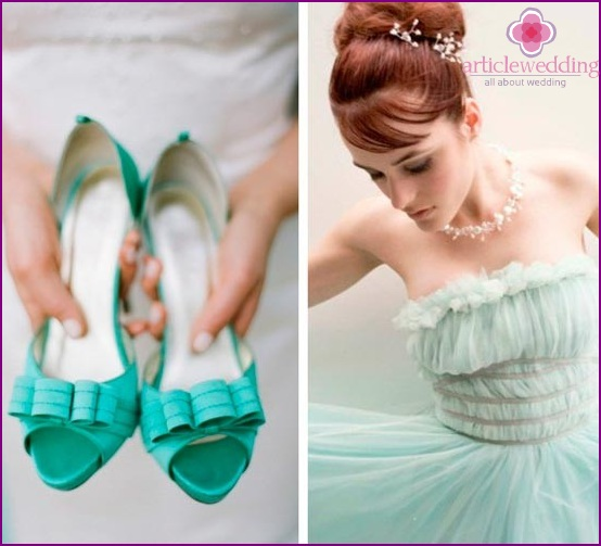 Mint sandals combined with a mint dress