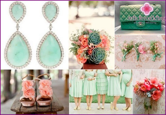 A combination of pink and mint in wedding accessories