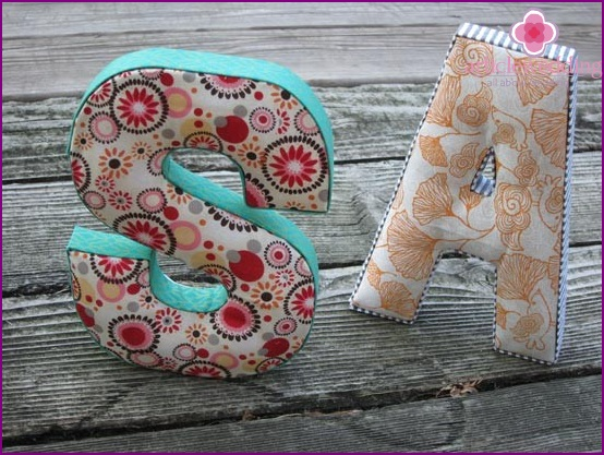 Ready made letters from fabric
