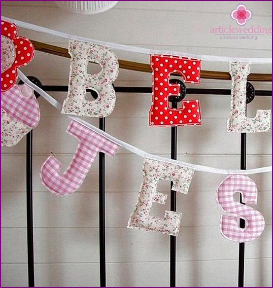 Soft letters for wedding decor