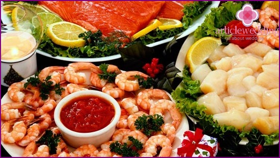 Seafood on the table