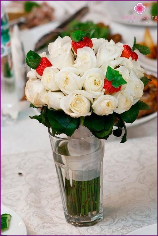 Strawberries in a wedding bouquet