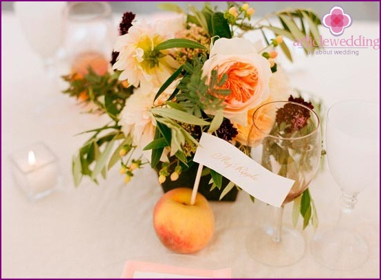 Peaches as Seating Cards