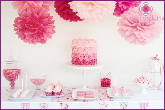 Crepe paper pompons in candy bar decor