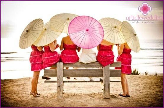 Color wedding photo shoot with umbrellas