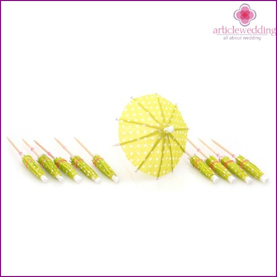 Dessert umbrellas for wedding decoration