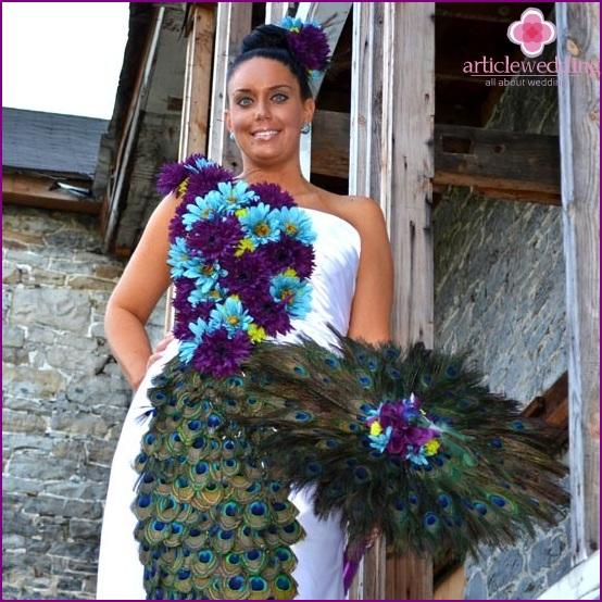 Peacock Feather Bride Umbrella
