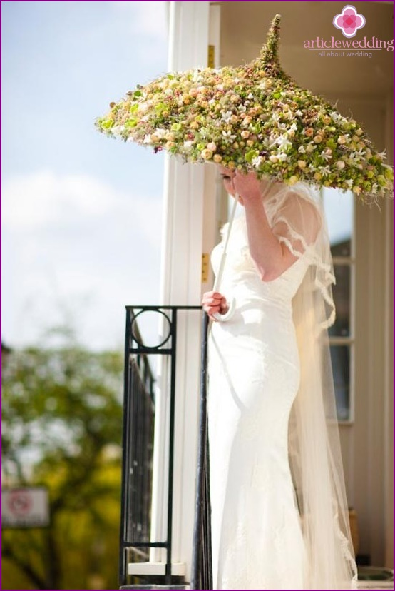 Bride with flower umbrella