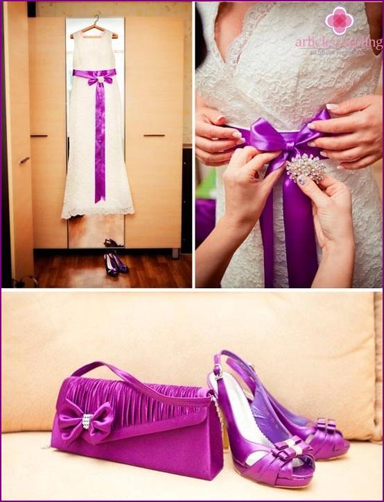 White wedding dress with a lilac belt
