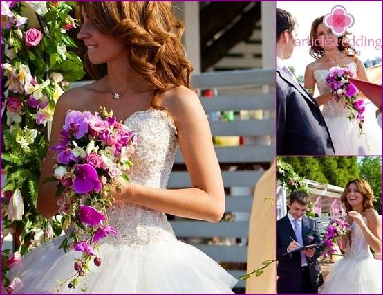 Original wedding bouquet in lilac color