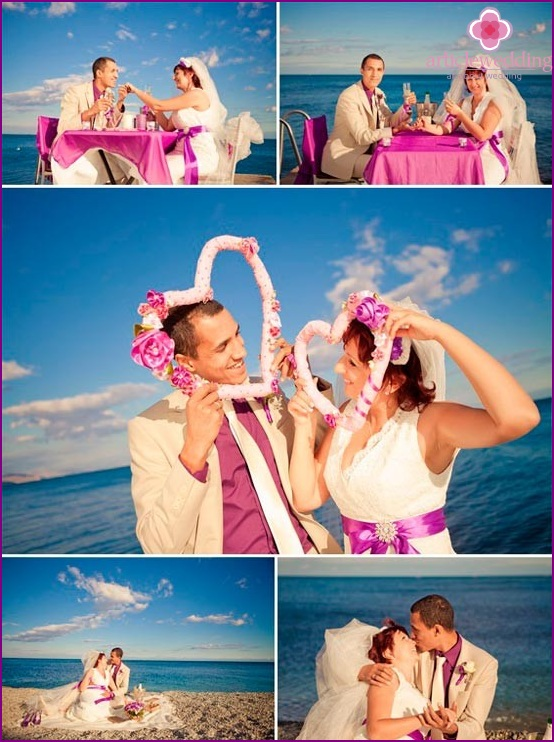 Lilac wedding at the sea