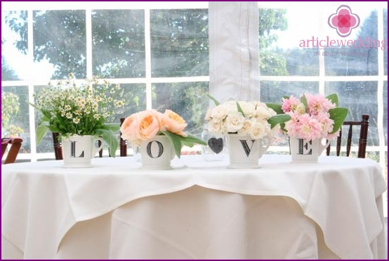 Flowers for decoration of wedding tables