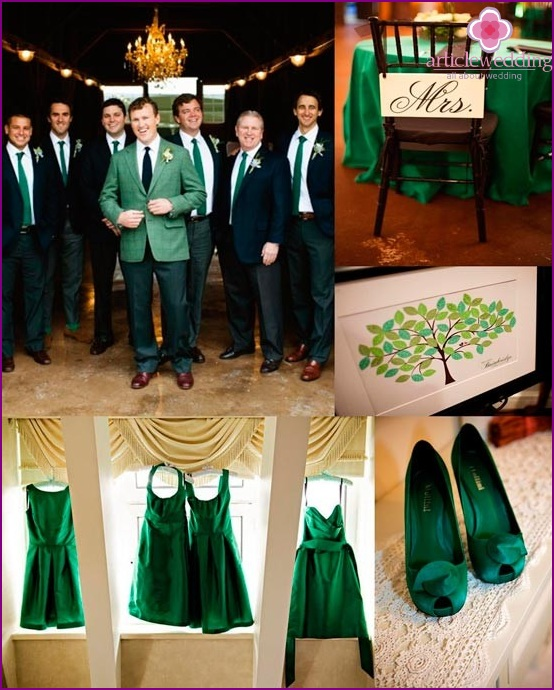 Emerald color in wedding dresses