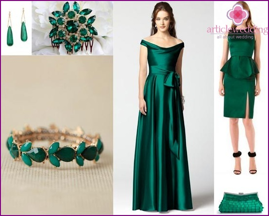 Emerald jewelry and wedding dresses