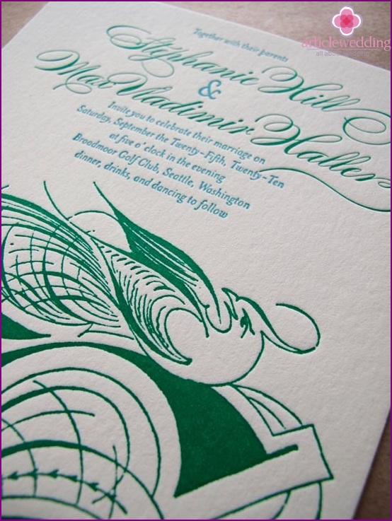 Smaragd Hochzeitseinladung