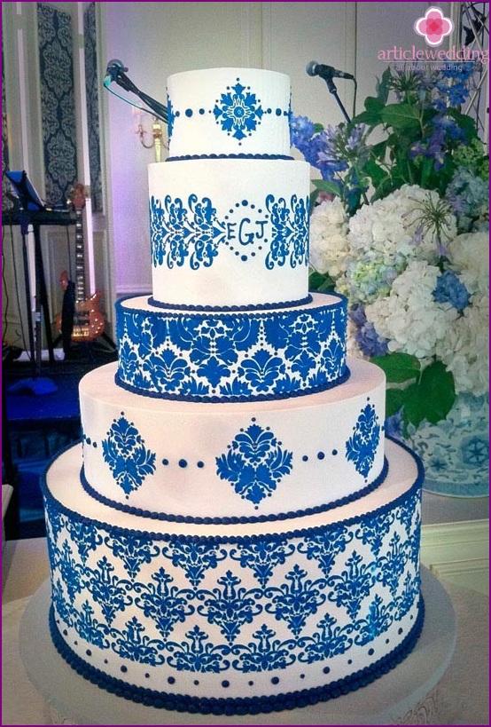Wedding cake with decorative blue painting
