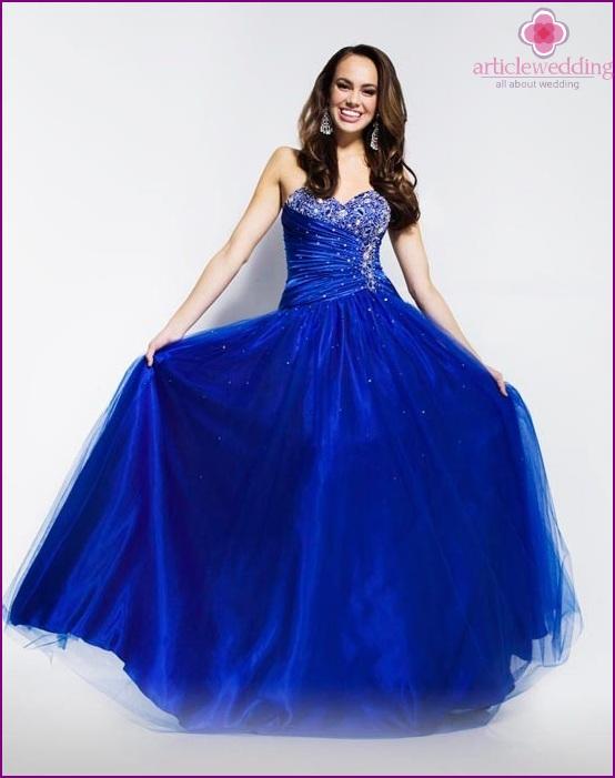 Bright blue wedding dress