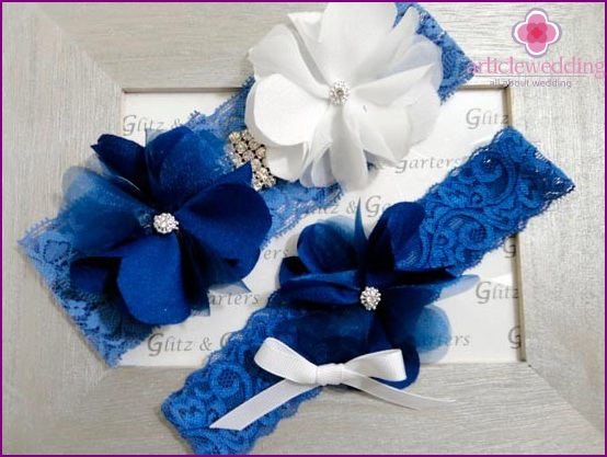 White and Blue Garter for the Bride