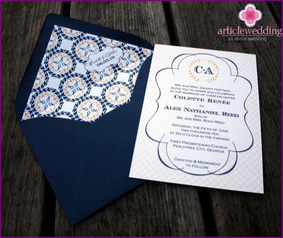 Blue envelope for invitation cards