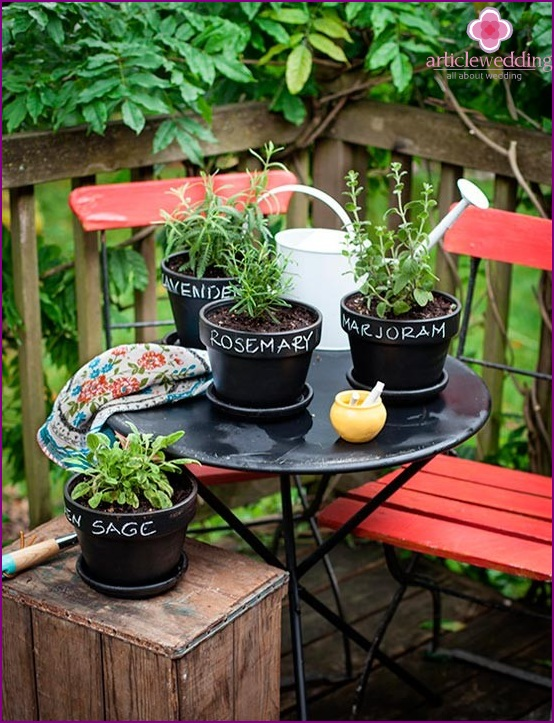 Using signed pots in the garden