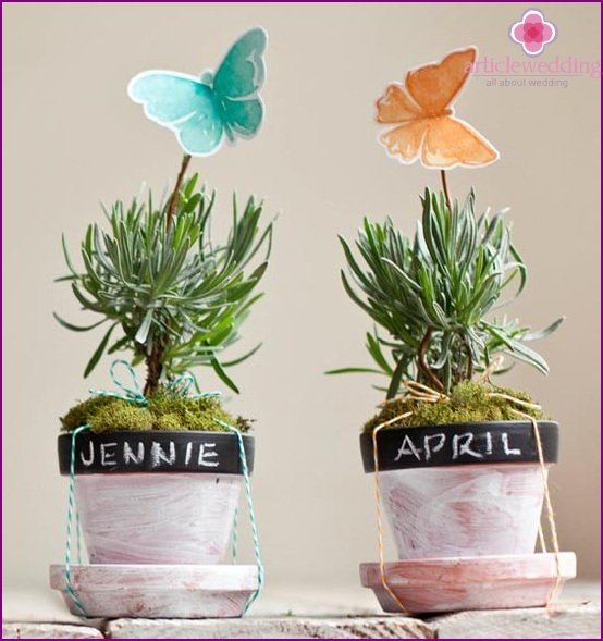 Flower pot decoration with butterflies and flowers