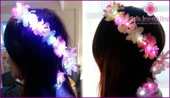 Decoration hairstyles with luminous flowers