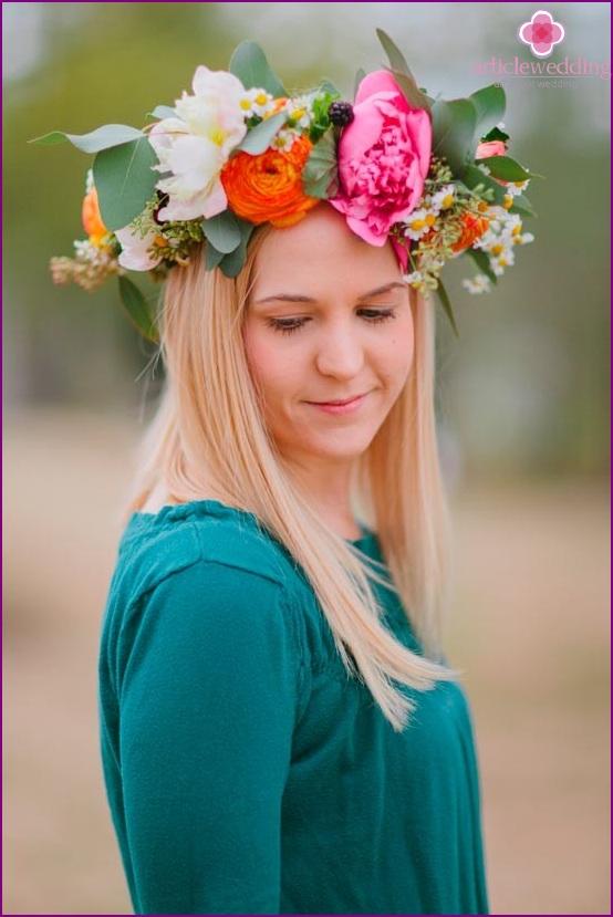 Ready-made wreath of fresh flowers