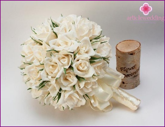 Bridal bouquet of crepe roses